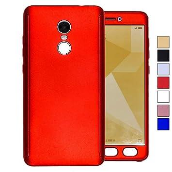 COOVY® Funda para Xiaomi Redmi Note 4X 360 Grados, Carcasa Ultrafina y Ligera, con Protector de Pantalla, protección de Cuerpo Completo   Color Rojo