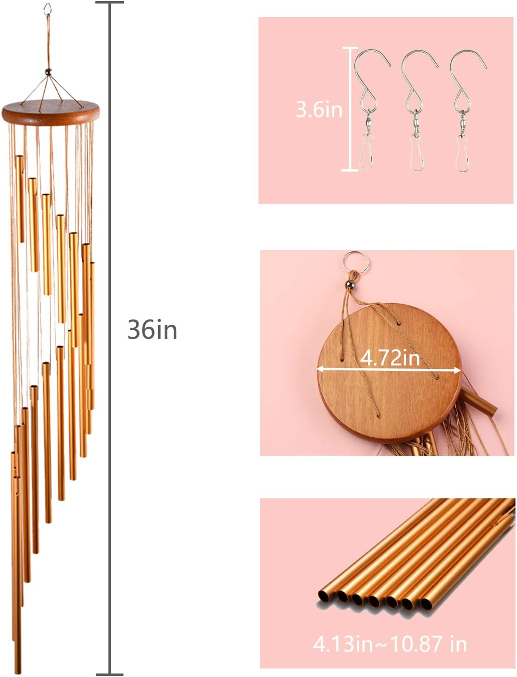 Balcony NAIYO Wind Chimes Outdoor Garden Beautiful Gift Courtyard Decoration Suitable for Indoor Outdoor Golden 36 inches Large Wind Chimes with S Hook
