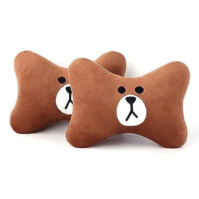 Tianmei 2PCS Cute Cartoon Pattern Car Headrest Pillow, Neck Rest Cushion Pillow, Car Neckrest Pad Head Support Pillow (Brown Bear - 1 Pair): Home & Kitchen