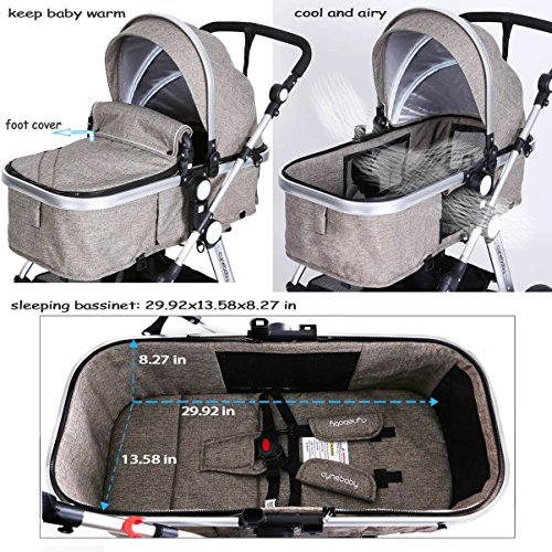 61LWQjF4mvL - Infant Toddler Baby Stroller Carriage - Cynebaby Compact Pram Strollers Single Stroller Add Cup Holder Footmuff Stroller Tray (Gray)