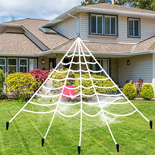 Halloween Giant Spider Web, Libay 16 FT Spider Web Decorations with Super Stretch Cobweb Set Scary Halloween Outdoor Decor Yard Decorations Props, White]()