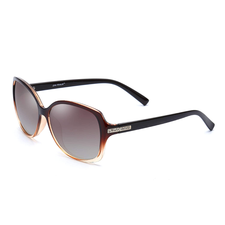 Jim Halo Gafas de Sol Gradiente Polarizadas Oversized de Moda Rhinestone Embellecer Mujer