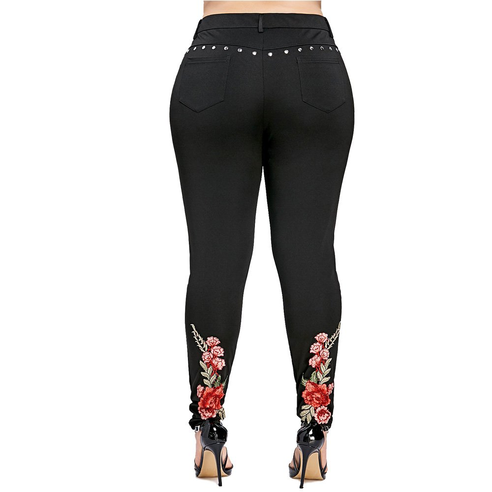iDeesse Women's Plus Size High Waist Floral Embroidered Rivet Pencil Pants (Black, 2XL) by iDeesse