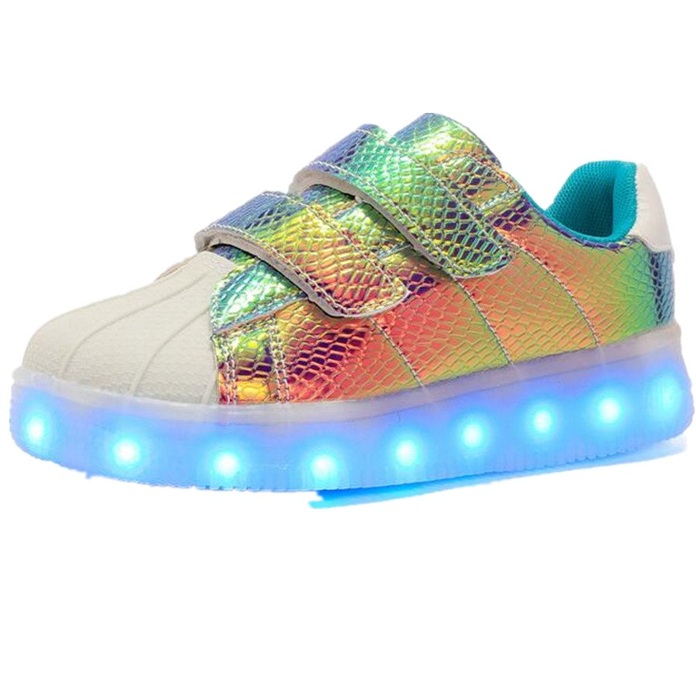 Hanglin Trade Kid LED Shoes 7 Colors USB Rechargable Kid Sneakers Light up Trainer (Blue 11.5 M US Little Kid)