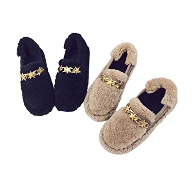 64628f95b6d Women s Wool Fleece Slippers Indoor and Outdoor Stars Buckle Slip-on Shoes  Lined Inner with