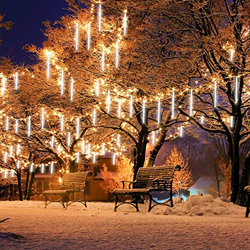 Alequa Meteor Shower Rain String Lights with USB Plug, 8 Tubes 224 LED Falling Rain Icicle String Lights, Waterproof Lights for Christmas Party Xmas Tree Decoration[Without USB Power Adapter](White)