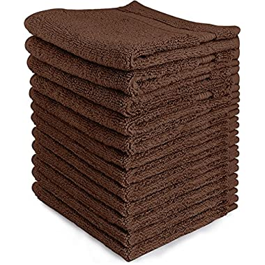 Luxury Cotton Washcloths (12-Pack, Dark Brown, 13x13 inches) - Easy Care, Ringspun Cotton for Maximum Softness and Absorbency - by Utopia Towels