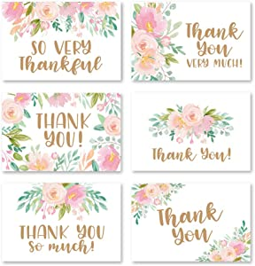 24 Pink Blush Floral Thank You Cards With Envelopes, Great Note For Adult Funeral Sympathy or Gift Gratitude Supplies For Grad, Birthday, Baby or Bridal Wedding Shower Boy or Girl Watercolor Flower