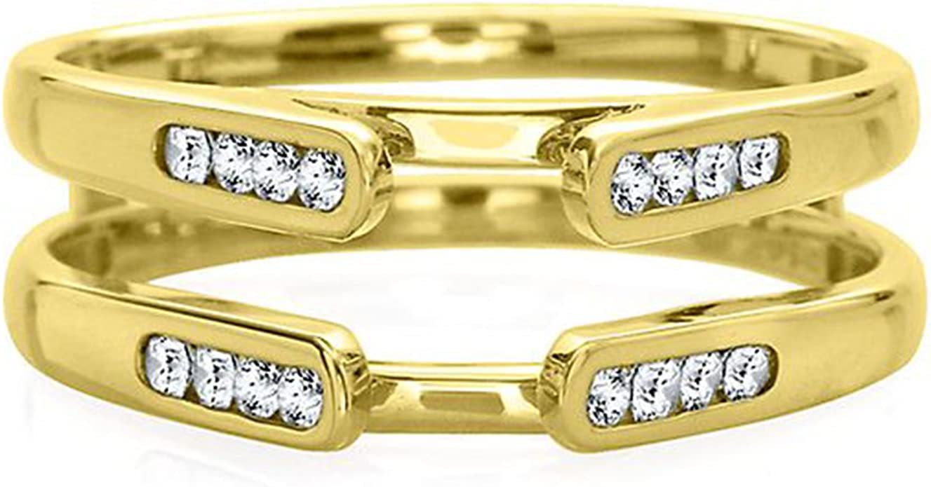 Jewelry Star 14k White Gold Plated in Alloy 1//2 ct Cubic Zirconia Engagement Enhancer Ring Guard Wrap