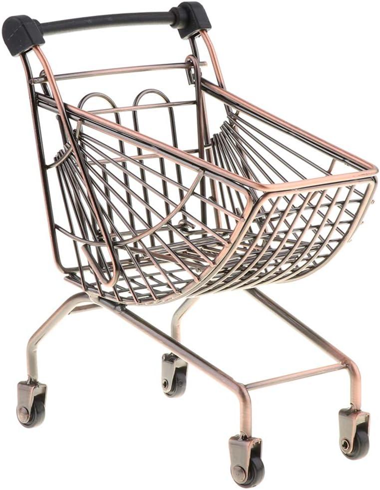 Bronze Homyl Caddie Supermarch/é Shopping Panier Chariot Basket en M/étal Enfant Jeux de R/ôle-Play Jouets /éducatifs