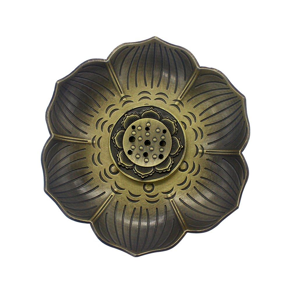 MyLifeUNIT Bronze Lotus Incense Holder, Multipurpose Incense Burner for Incense Sticks, Cones or Coils