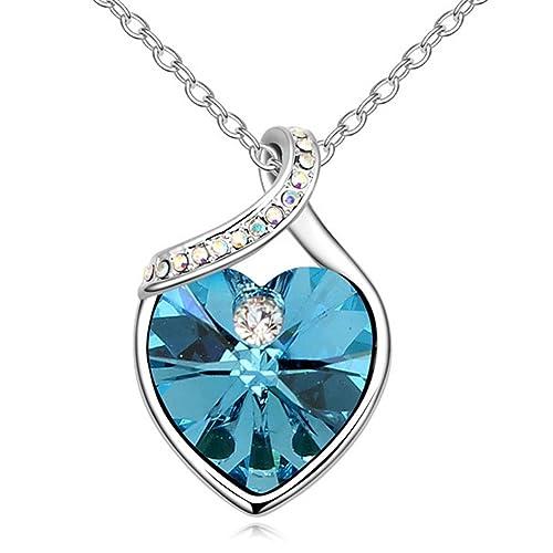 48349e90b875 sojewe tono de plata cadena de collar con colgante de corazón azul marino  elementos de Swarovski