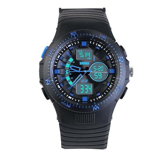 NICERIO Niños Niñas Muñeca Reloj de Pulsera Impermeable Infantil Deporte Reloj Digital con Alarma (azul