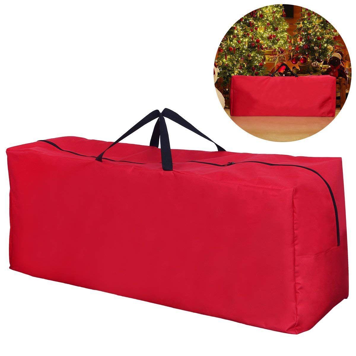Premium 600D Oxford Christmas Tree Storage Bag - Artificial Up to 6'- 9' Christmas Tree Organizer for Un-Assembled Trees, with Sleek Zipper - Accommodates Holiday Inflatables   Medium / Large