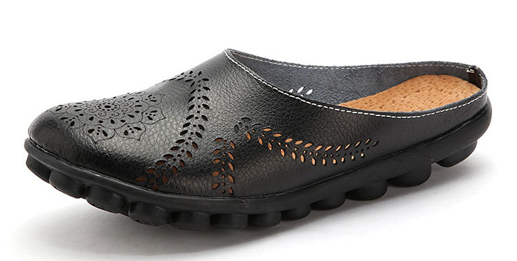Labato Women's Mules Slip-on Shoes Leather Clogs Flats Wallking Slipper