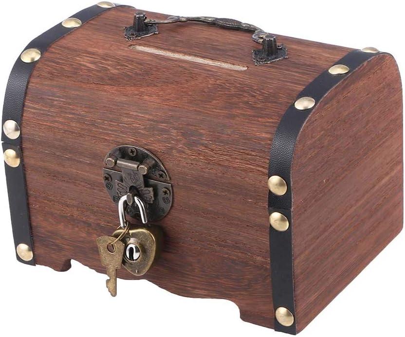 LIBWX Vintage Treasure Storage Box Pirate Treasure Chest Piggy Bank Organizer Saving Box Case with Lock for Home