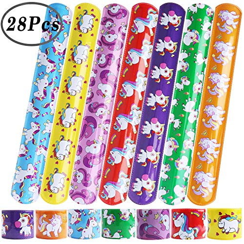 Hicdaw 28 Pcs Slap Bracelet for Unicorn Favor XMAS Gift Bracelets for Unicorn Party Favors Slap Prizes for Kids Adults with 7 Design