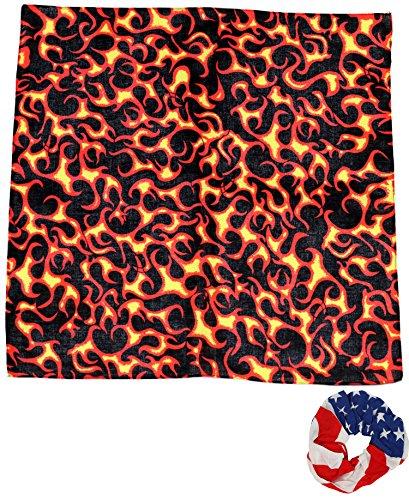 One Dozen Cowboy Bandanas Small Flames 22 inch, with Hair Scrunchie