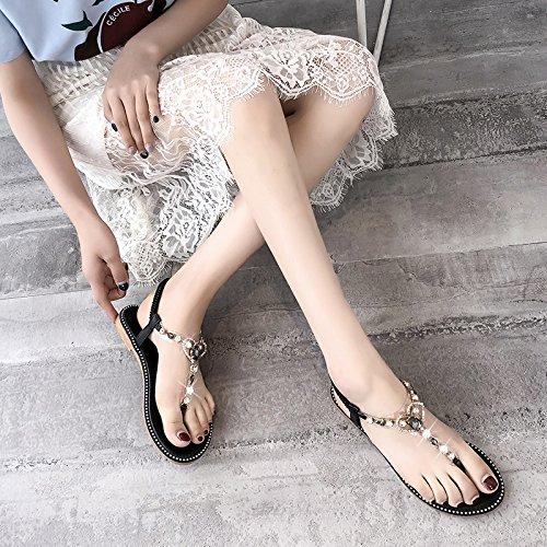 Verano black pies Antideslizante Playa YMFIE Comodidad de de Sandalias Bohemia Calzado Damas 1xdOAP