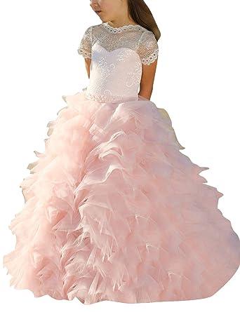 9da657c7bc657 VKStar® Robe Fille Princesse Mariage Longue Dentelle Robe Boule Enfant  Organza Chic Robe de Cérémonie