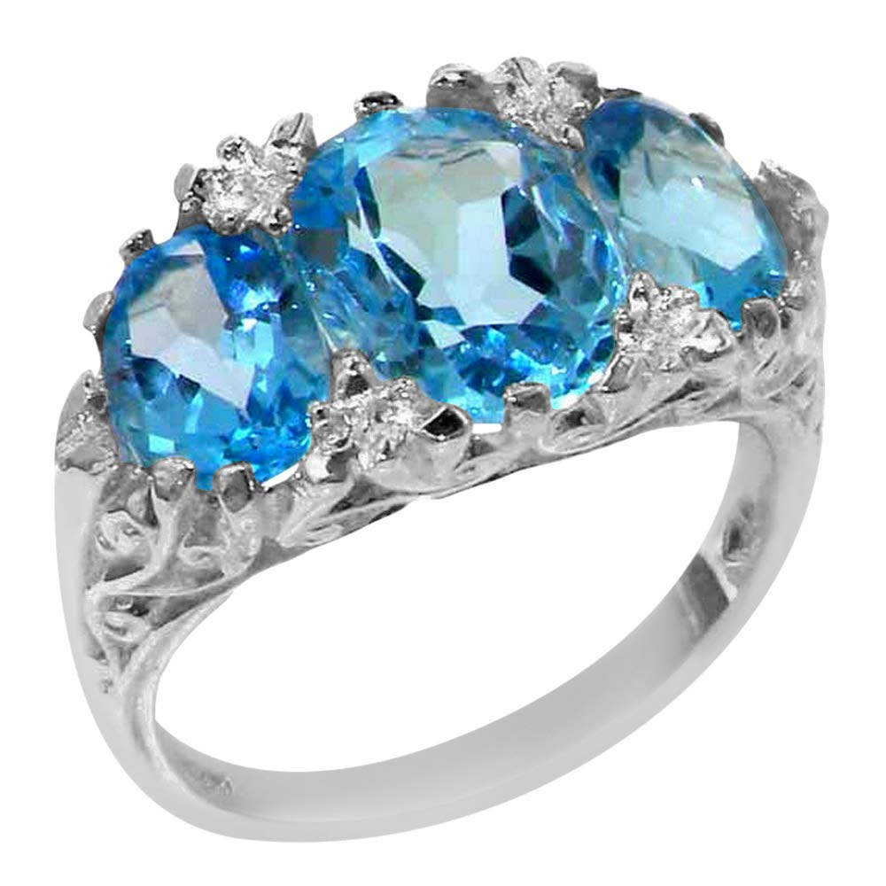925 Sterling Silver Real Genuine Blue Topaz Womens Promise Ring - Size 9 by LetsBuySilver