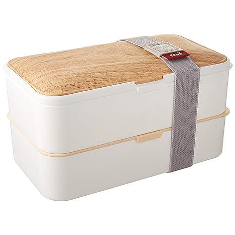PuTwo Bento Box Fiambreras Bento Caja Bento Caja Almuerzo de 2 Niveles con Juego de Cubiertos