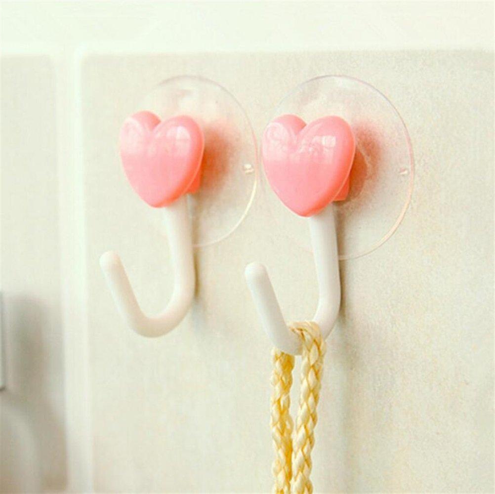 Heelinna multifunzione Ganci da bagno 2 pezzi Gancio a forma di cuore Gancio adesivo a parete con ventosa