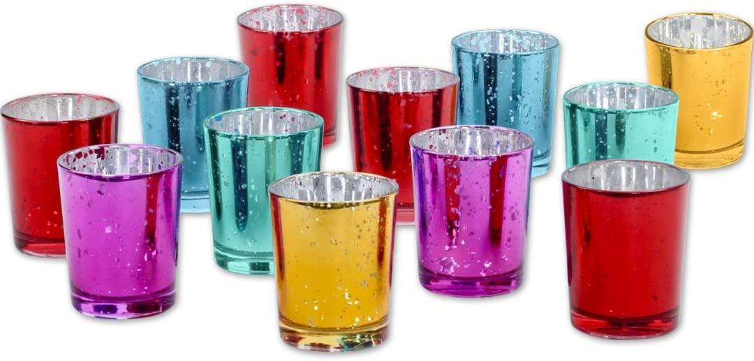 "Koyal Wholesale 2.5"" H Assorted Mercury Glass Votive Candle Holders, Set of 12 Jewel Tone Deep Rich Colors for Wedding Centerpieces, Boho, Fall, Dark Vintage, Modern Bohemian, Moroccan, Indian Theme"