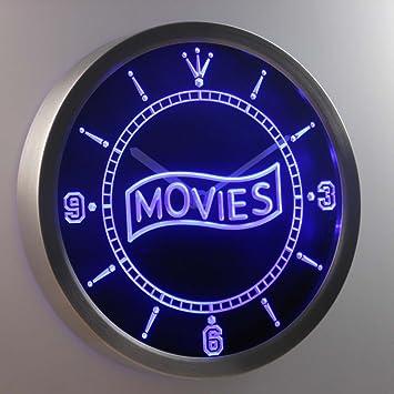 Amazoncom nc0399b Movie Night Decor Neon Sign LED Wall Clock