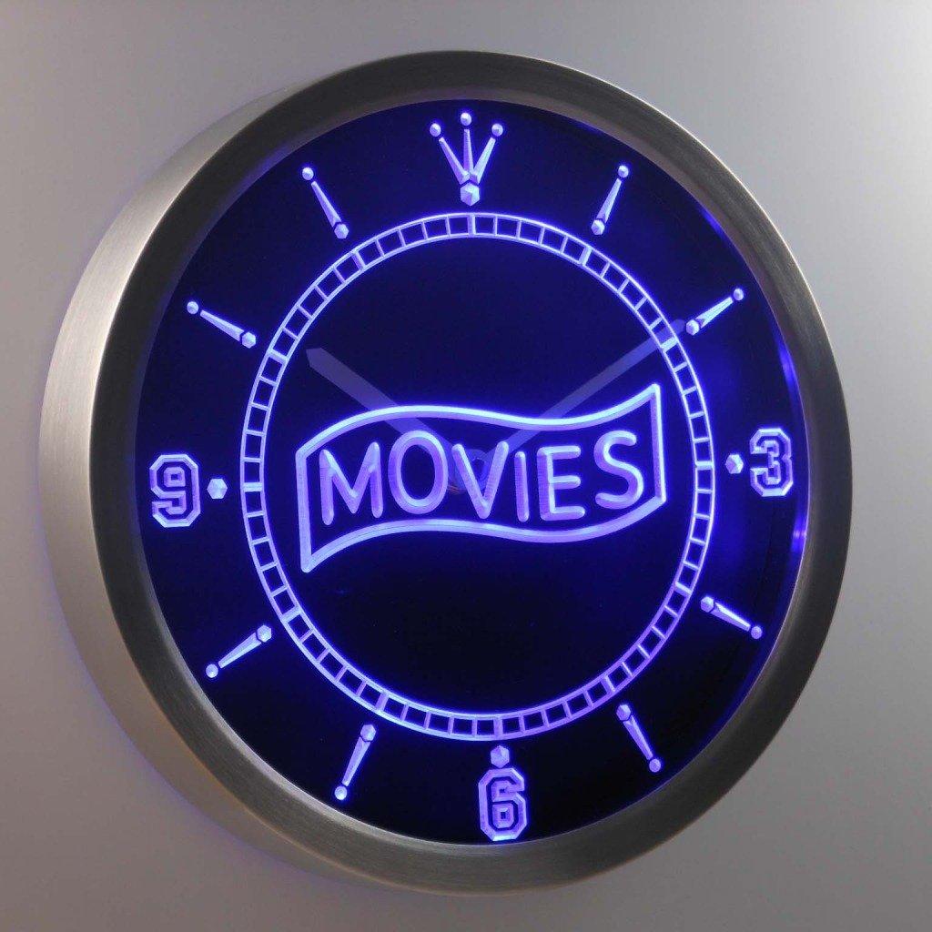 nc0399-b Movie Night Decor Neon Sign LED Wall Clock