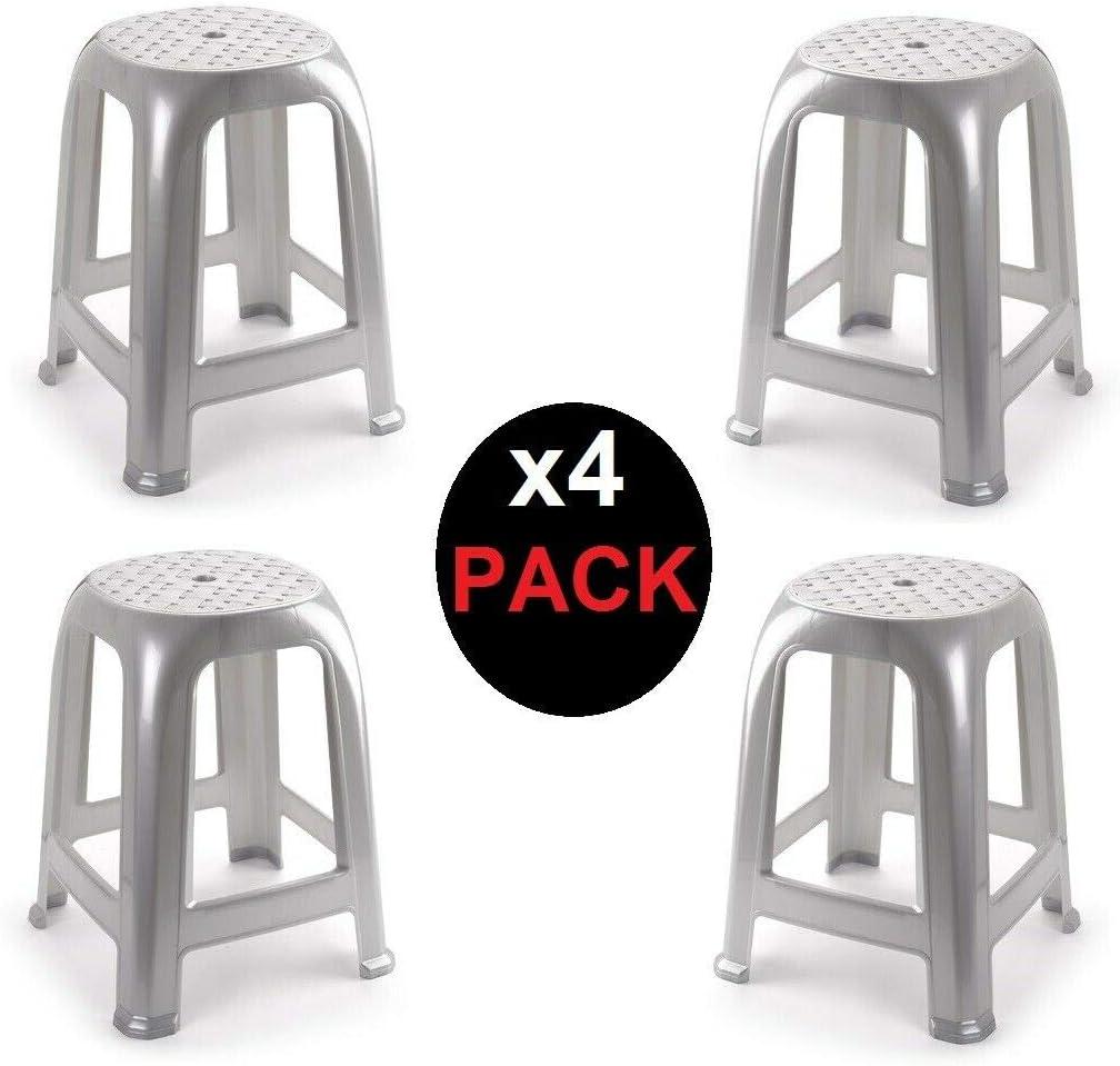 4X Taburete Silla de plástico Asiento apilable Banco jardín Camping Playa Gris