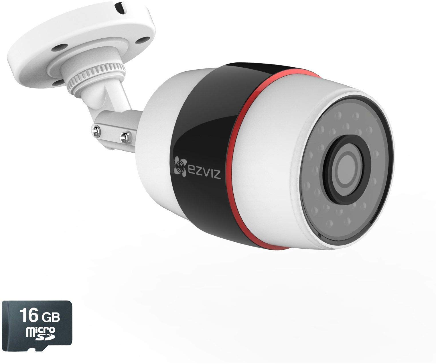 EZVIZ Husky Outdoor HD 1080p PoE & Wi-Fi Wireless Video Security Bullet Camera, Works with Alexa, 100 ft. Night Vision, Weatherproof, 16GB Micro SD Included (WiFi Connectivity - 2.4Ghz Only) by EZVIZ