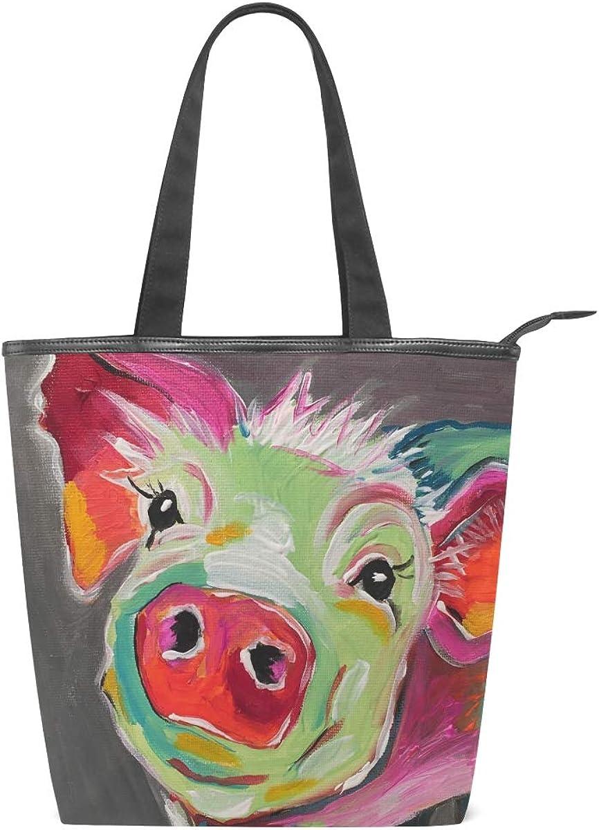 DEZIRO Pig Painting Handbag woman Tote Bag