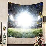 Keshia Dwete Custom tapestry empty night grand soccer arena with flash