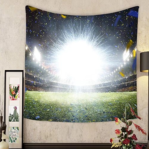Keshia Dwete Custom tapestry empty night grand soccer arena with flash by Keshia Dwete