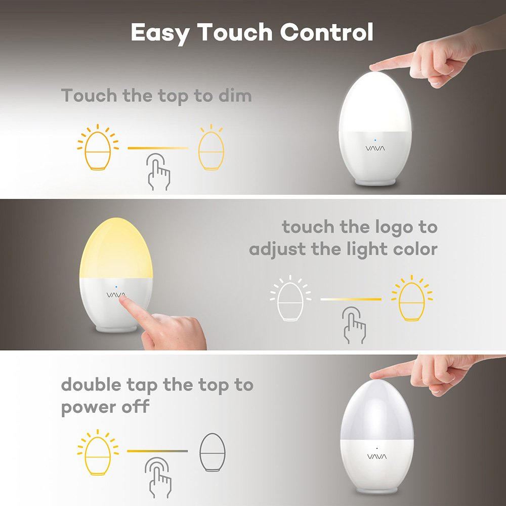 VAVA Night Lights for Kids, LED Nursery Lamp with Free Stickers, Safe ABS+PP, Adjustable Brightness Warm White/Cool White, 80 Hours Runtime by VAVA (Image #4)