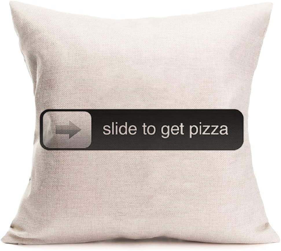 Amazon Com Smilyard Throw Pillow Case Quote With Slide To Get Pizza Decorative Pillow Covers Clip Art Cotton Linen Square Cushion Cover Farmhouse Home Decor For Sofa Bed 18x18 Inch Ca 2 Home