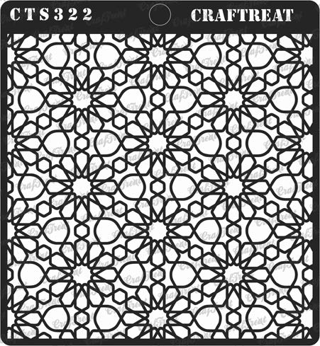 CrafTreat Stencil - Arabic Pattern - Reusable Painting Template for Journal, Notebook, Home Decor, Crafting, DIY Albums, Scrapbook and Printing on Paper, Floor, Wall, Tile, Fabric, Wood 6x6 - T-shirt Album White