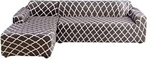 Sectional Couch Covers L Style Sofa Covers 2 Piece Stretch Polyester Fabric Slipcovers with 2Pcs Pillow Covers for Sectional Corner Sofa Furniture Protector (Grey White Grid, L-Shape 3+4 Seat)