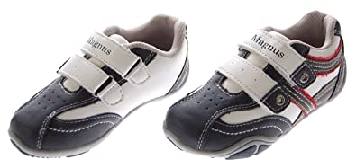 Kinder Halb Schuhe Weiss Navi Sneaker Doppel Klettverschluss