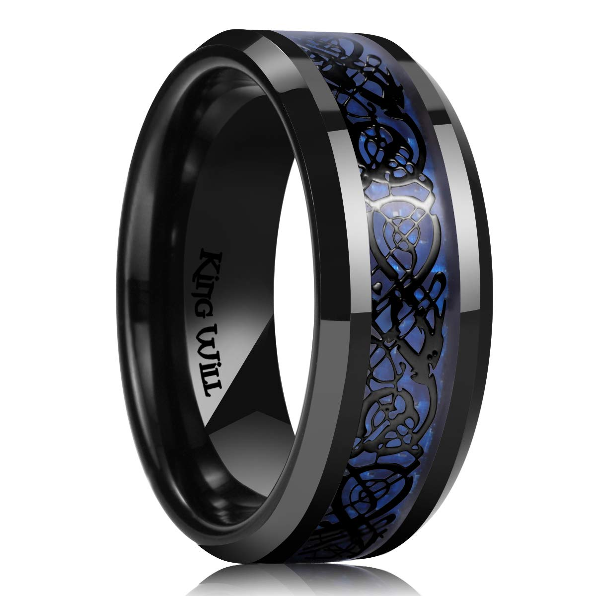 King Will Dragon 9mm Stainless Steel Ring Blue Carbon Fibre & Sliver Celtic Dragon Inlaid with Polished Beveled Edge&Black Plated(9) by King Will