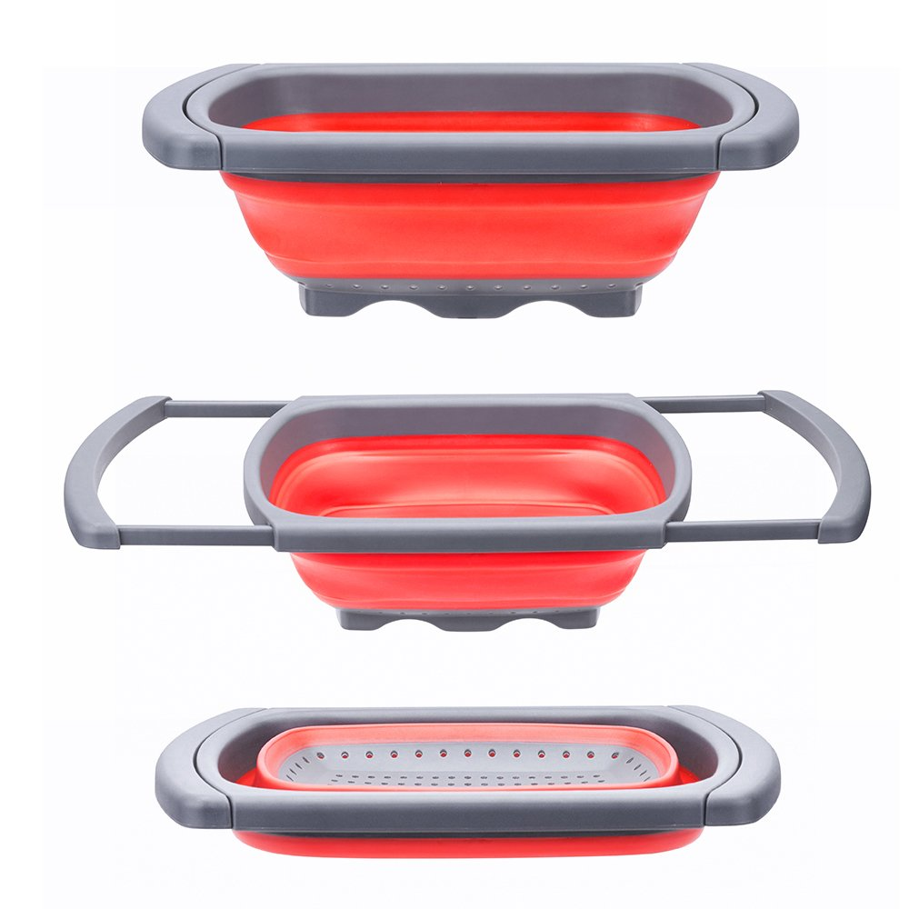 Glotoch Kitchen Collapsible Colander, Over The Sink Strainer With Steady Base For Standing, 6-quart Capacity, Dishwasher-Safe,BPA Free (Red&Grey) by Glotoch Express