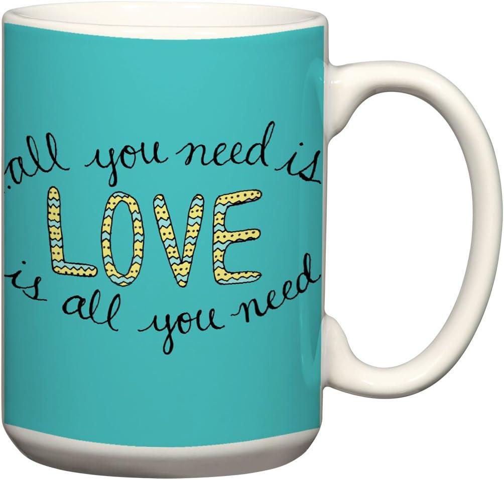 All You Need Is Love 15 oz Mug Song Lyrics Teal and Yellow Coffee Cup Love Quote Mug