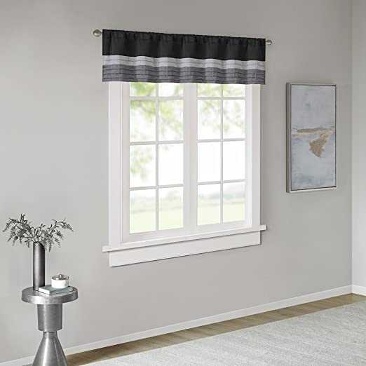 Amherst Polyoni Pintuck Teal Gray Window Valance , Modern Rod Pocket  Valances for Windows , 50X18\
