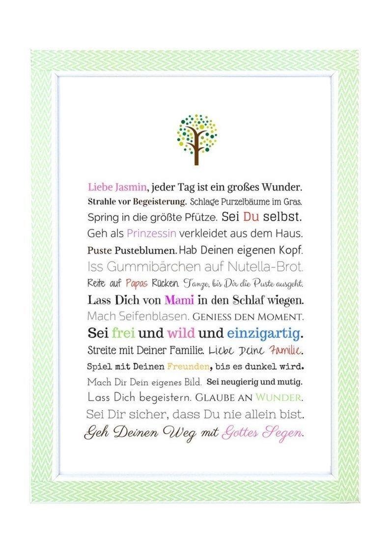 Taufe Geschenk Madchen Personalisiertes Bild A4 Kunstdruck
