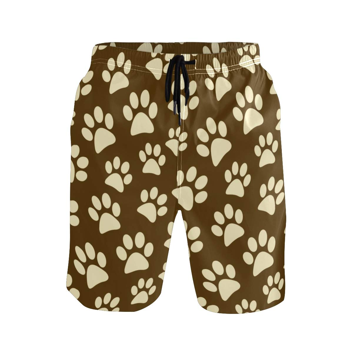 KUWT Mens Swim Trunks Animal Dog Cat Paw Print Quick Dry Beach Shorts Summer Surf Board Shorts