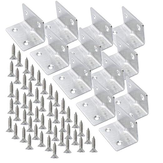 en forma de L soporte de /ángulo recto Soportes angulares de acero inoxidable para esquinas Sourcingmap soporte para estantes con tornillo para muebles