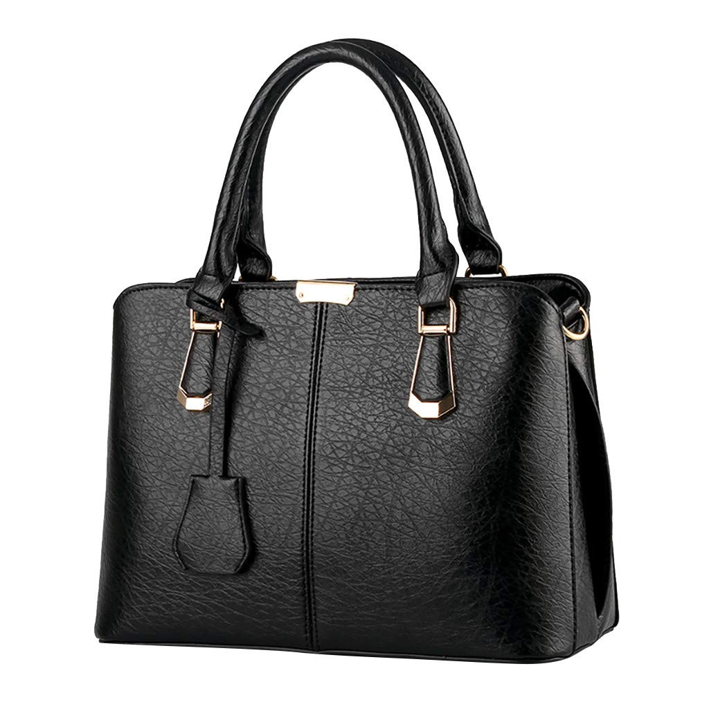 Shoulder Bags,AgrinTol Women Large Capacity Simple Fashion Top Handle Satchel Tote Purse (Black) by Agrintol_Fashion Bags