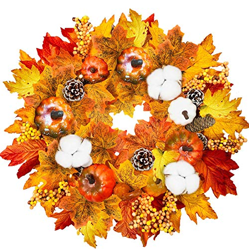 TURNMEON 15″ Fall Wreath Thanksgiving Decorations for Front Door with Pumpkins Pinecone Berry Cotton Artificial Maples Leaves Wreath Autumns Harvest Fall Thanksgivings Decoration Indoor Outdoor Decor