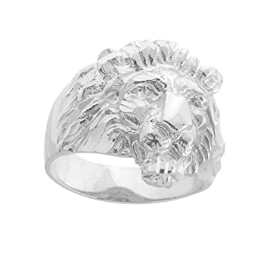 Fine 925 Sterling Silver Textured Band Lion Head Ring for Men